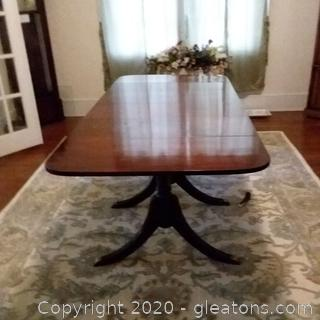 Antique Mahogany 3 Pedestal Drop Leaf Dining Table