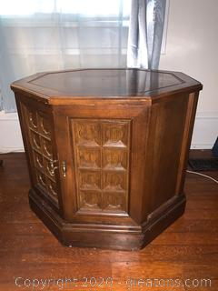 Octagonal Carved Side Table with Bottom Storage