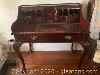 Antique Ball And Claw Mahogany Writing Desk