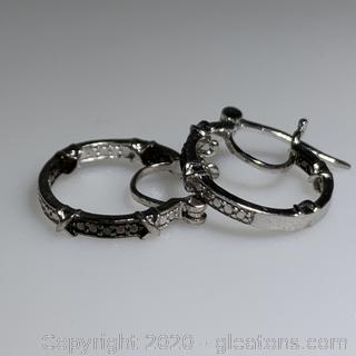 Sterling Silver Green Diamond Hoop Earrings