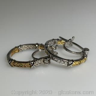 Sterling Silver Yellow Diamond Hoop Rings