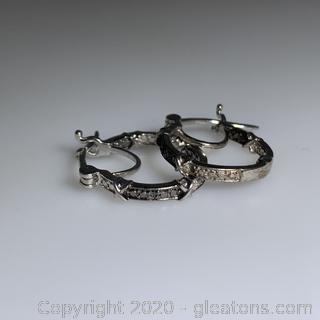 Sterling Silver Black Diamond Hoop Earrings