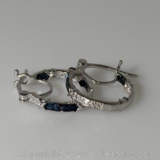 Sterling Silver Blue Diamond Hoop Earrings
