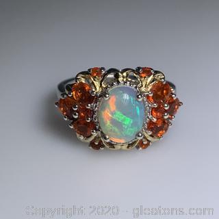 Sterling Silver Opal & Imitation Fire Opal Ring