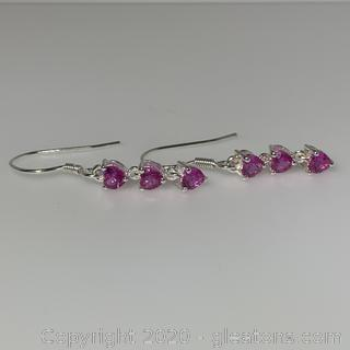 Lab Created Pink Sapphire Earrings