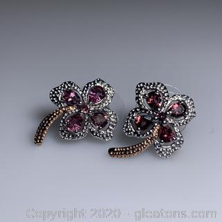 Sterling Silver Lab Created Pink Tourmaline Earrings