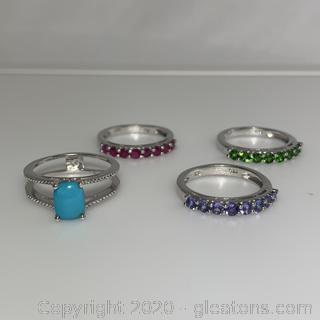 4 Piece Sterling Silver Ring Set