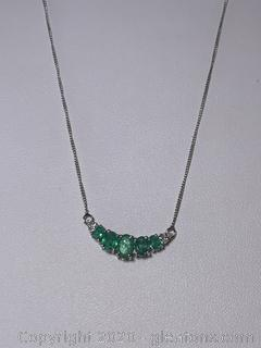 Sterling Silver Emerald & Diamond Necklace