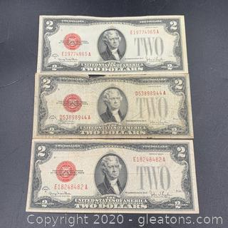 1928 Red Seal Two Dollar Bills Lot of Three