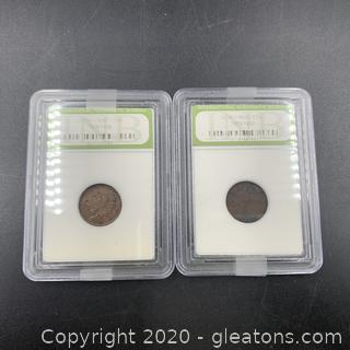 Lot of 2 Indian Head Cent Pennies B
