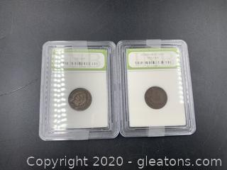 2 1893 Indian Headcent Pennies
