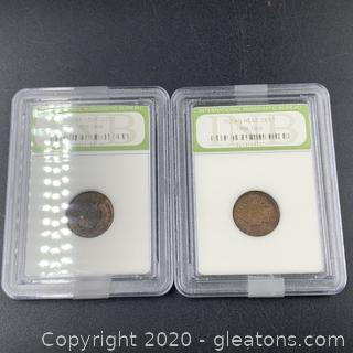 Lot of 2 Indian Head Cent Pennies