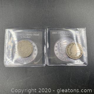 "2 Liberty Head ""V"" Nickels"