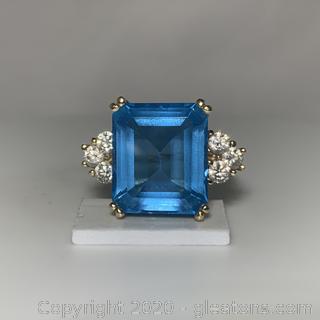 Blue Topaz W/6 Diamonds 14K