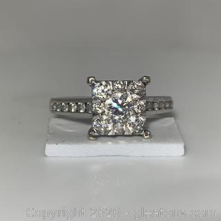 14K WG Princess Style W/Diamonds Rounds