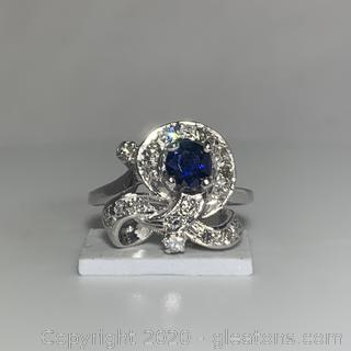 14K WG Vintage Sapphire and Diamond Ring