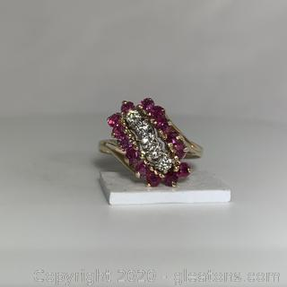 APPRAISED 14K Diamond and Ruby Waterfall Style Ring