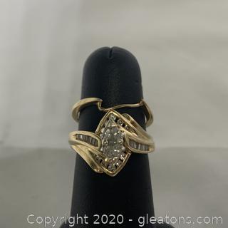 14k YG Marquise and Diamond Wedding Set