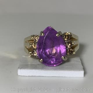 14K YG Amethyst and Diamond Ring