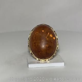 14K YG Amber Ring