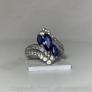 10K WG Sapphire and CZ Ring