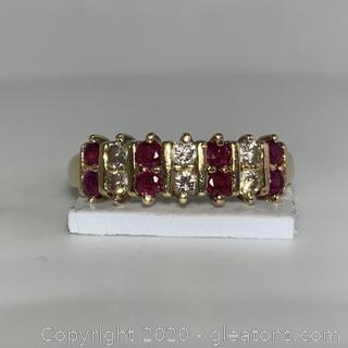 14K YG Ruby Diamond Chanel Set Ring