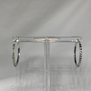 14k WG Diamond Hoops
