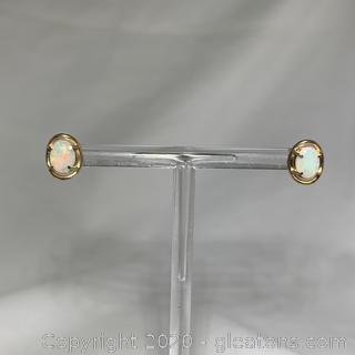 14k YG Opal Stud Earrings