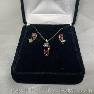 14k YG Ruby, Diamond Necklace and Earring Set