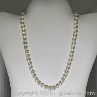 14k YG Hand Strung Cultured Pearl Necklace