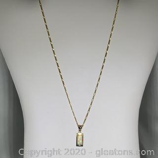 14k YG Opal and Diamond Necklace