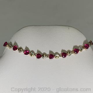 10k YG Ruby Heart Shaped Diamond Bracelet