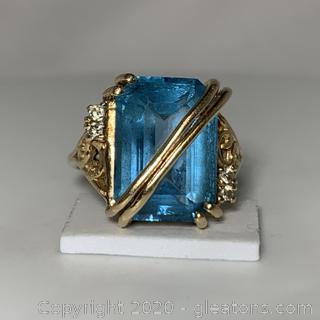 14k VG Blue Topaz Rectangular Ring with Diamonds