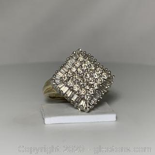 10k YG, WG Vintage Diamond Ring