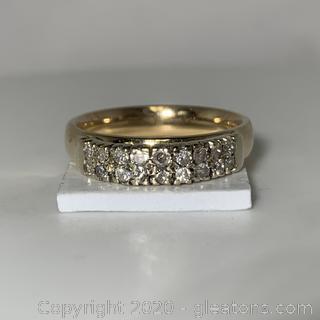 14k YG, WG Double Row Diamond Chanel Set