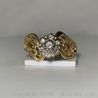 14k YG Vintage Diamond Tulip Ring