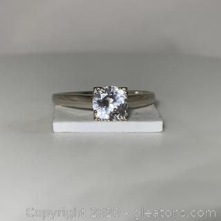 14k WG White Sapphire Ring