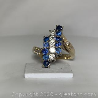 14k YG Sapphire and Diamond Ring