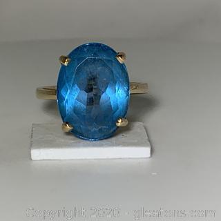 14k YG Blue Topaz Ring