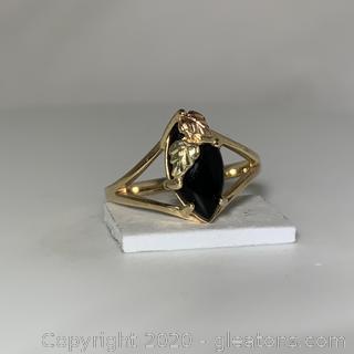 10k Onyx Beach Hills Gold Ring