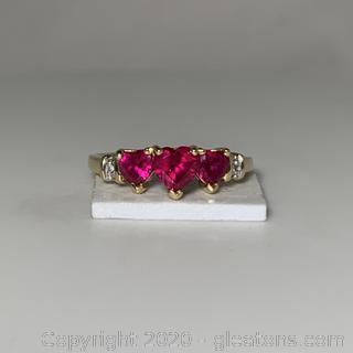 10k YG Ruby 3 Heart Diamond Ring