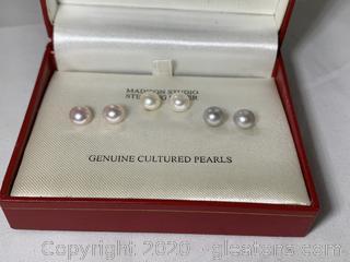 Set of 3 Sterling Genuine Cultured Pearl Earrings