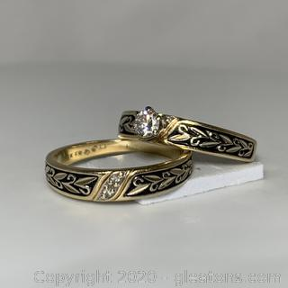 14k YG Diamond Wedding Set