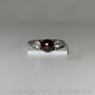 10k WG Black Pearl W/CZ Ring