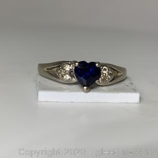 10k WG Sapphire Heart Shaped CZ Ring