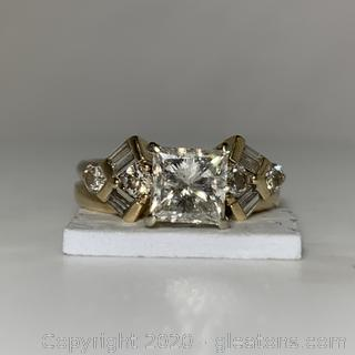 APPRAISED 14k 1.52 Carat Center Stone Diamond Ring TOTAL 2 CARATS