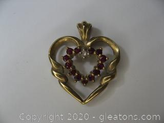 10kt Ruby & Diamond Heart Pendant