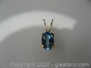 14kt Gold Swiss blue Topaz Pendant