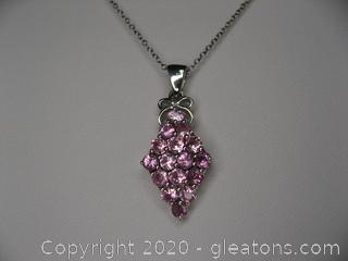 Sterling Silver Lab Created pink Sapphire Necklace