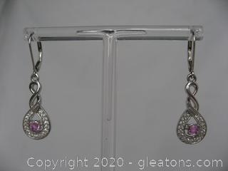 Sterling Silver Earrings With Lab Created Pink Sapphires